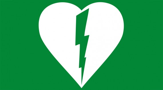 AED symbol - white heart with lightning bolt on green background