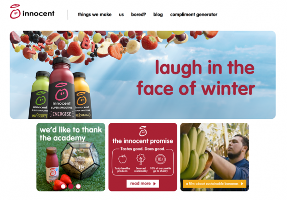 innocent homepage - a great example of conversational tone